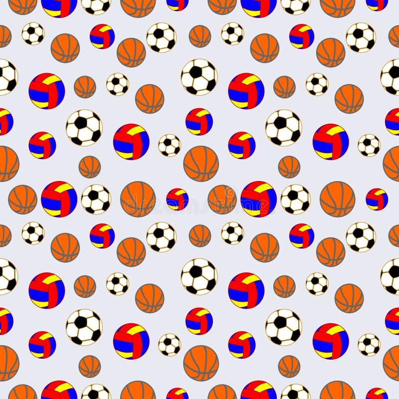 Άνευ ραφής διανυσματικό σχέδιο, υπόβαθρο με τα στοιχεία των ζωηρόχρωμων σφαιρών για το ποδόσφαιρο, την πετοσφαίριση και το ποδόσφ ελεύθερη απεικόνιση δικαιώματος