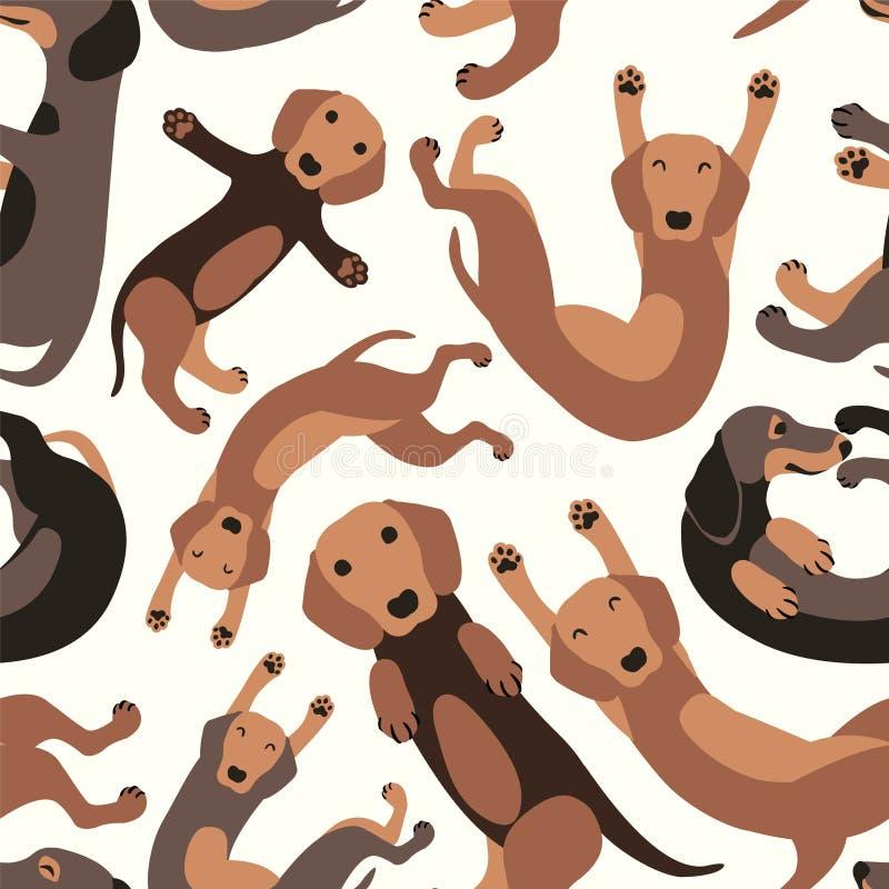 Άνευ ραφής διανυσματικό σχέδιο - dachshund σκυλί ελεύθερη απεικόνιση δικαιώματος