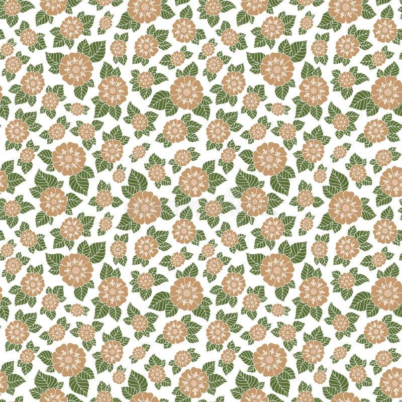 Άνευ ραφής διανυσματικό floral σχέδιο με τις ζωηρόχρωμες εγκαταστάσεις φαντασίας και απεικόνιση αποθεμάτων