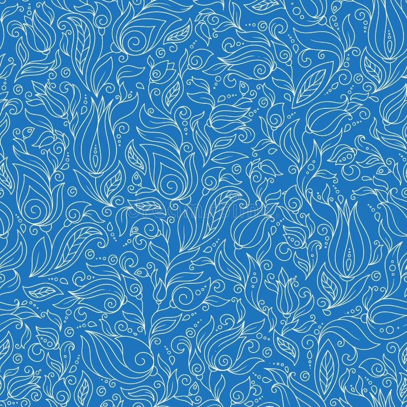 Άνευ ραφής διανυσματικό floral σχέδιο με τις ζωηρόχρωμες εγκαταστάσεις φαντασίας και διανυσματική απεικόνιση