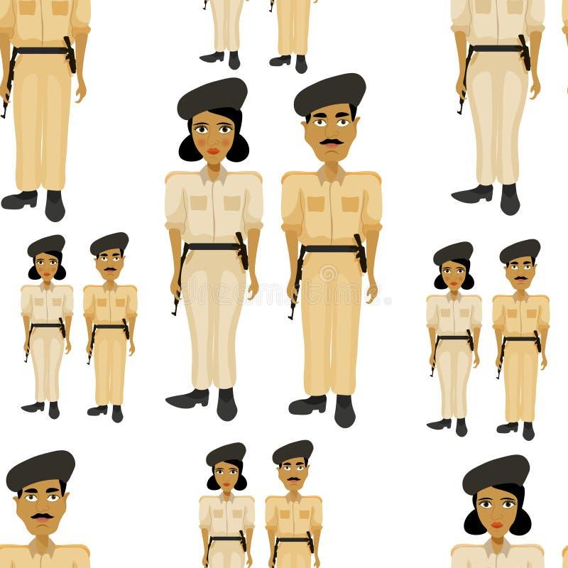 Άνευ ραφής ινδικός αστυνομικός σχεδίων και ένας αστυνομικός γυναικών απεικόνιση αποθεμάτων