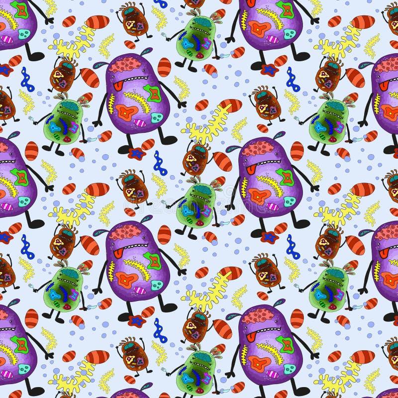 άνευ ραφής ιοί κεραμιδιών προτύπων βακτηριδίων στοκ φωτογραφία