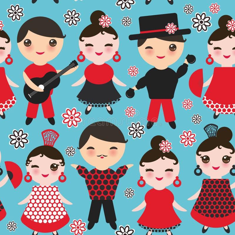 Άνευ ραφής ισπανικός flamenco σχεδίων χορευτής Χαριτωμένο πρόσωπο Kawaii με τα ρόδινα μάγουλα και τα μάτια κλεισίματος του ματιού ελεύθερη απεικόνιση δικαιώματος