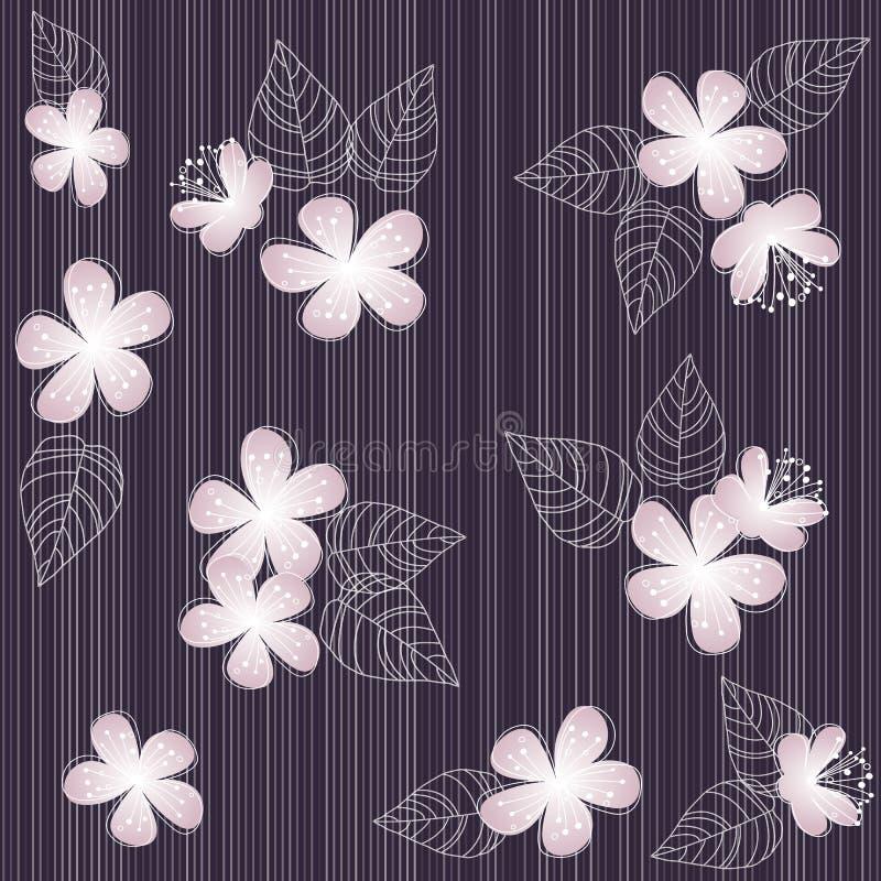 Άνευ ραφής ιώδες υπόβαθρο σχεδίων λουλουδιών διανυσματική απεικόνιση