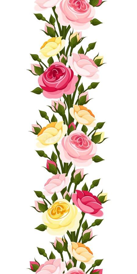 Άνευ ραφής κάθετα σύνορα με τα κόκκινα, ρόδινα, πορτοκαλιά και κίτρινα τριαντάφυλλα επίσης corel σύρετε το διάνυσμα απεικόνισης ελεύθερη απεικόνιση δικαιώματος
