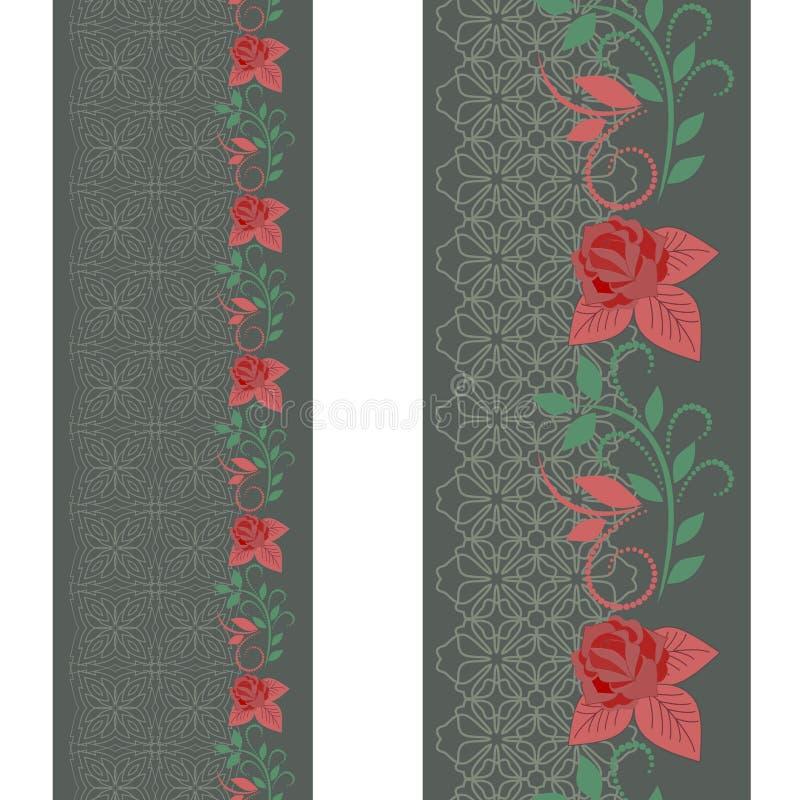 Άνευ ραφής κάθετο σχέδιο δαντελλών με τα τριαντάφυλλα Διανυσματικό σύνολο 2 απεικόνιση αποθεμάτων