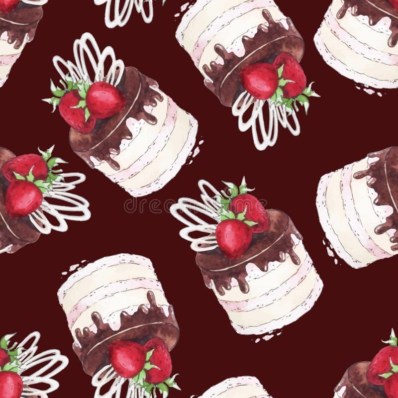Άνευ ραφής κέικ φραουλών σχεδίων Watercolor ελεύθερη απεικόνιση δικαιώματος
