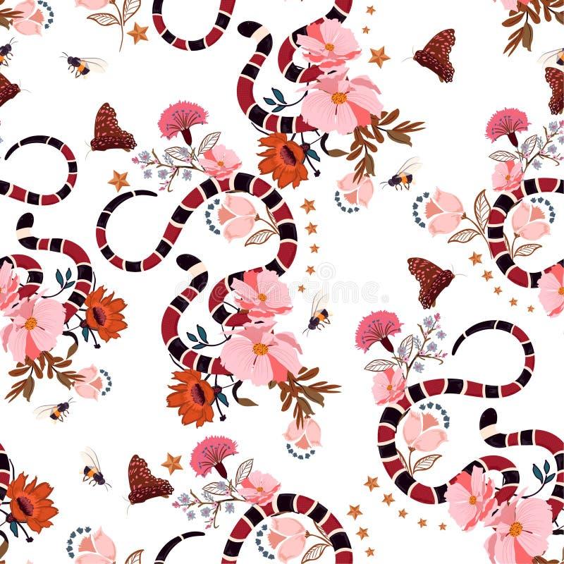 Άνευ ραφής καθιερώνον τη μόδα φίδι σχεδίων με το γραφικό διάνυσμα σχεδίου λουλουδιών διανυσματική απεικόνιση