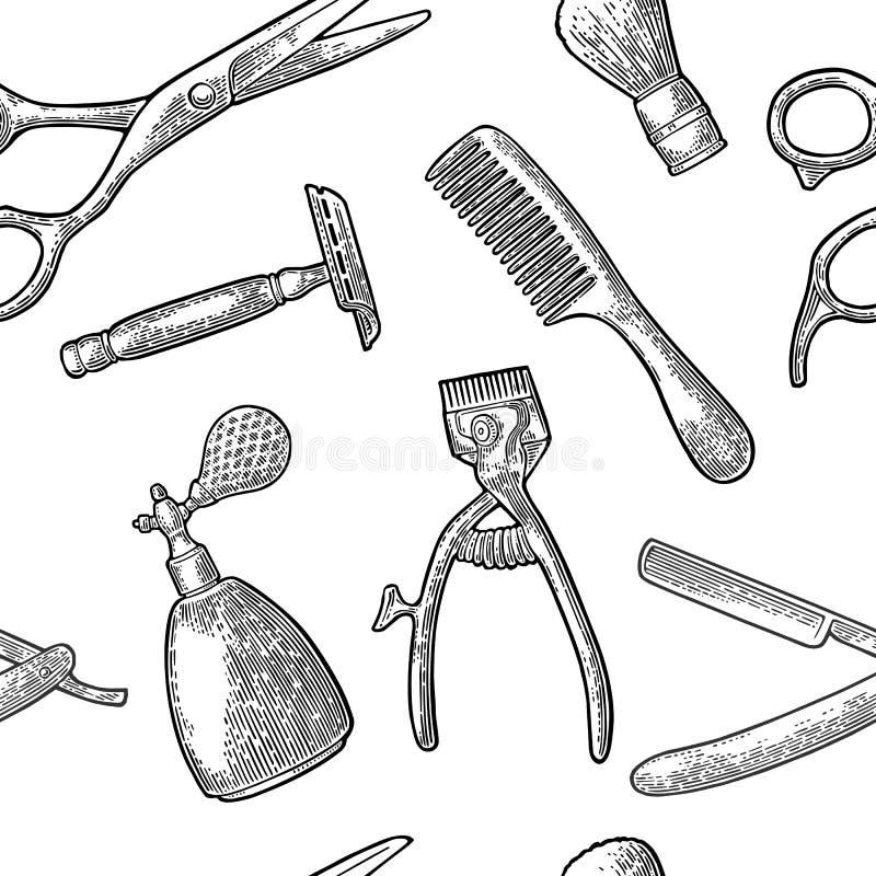 Άνευ ραφής καθορισμένο εργαλείο σχεδίων για BarberShop διανυσματική απεικόνιση