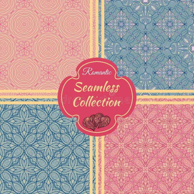 άνευ ραφής καθορισμένο δ&iota Συλλογή των σχεδίων με τις floral και γεωμετρικές διακοσμήσεις διανυσματική απεικόνιση