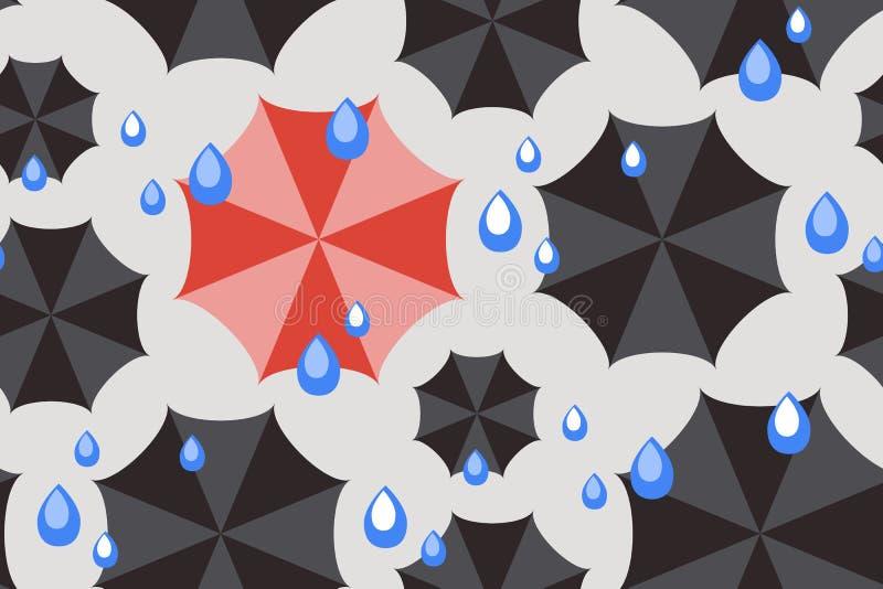 Άνευ ραφής καιρικό σχέδιο με τις μαύρες ομπρέλες διανυσματική απεικόνιση