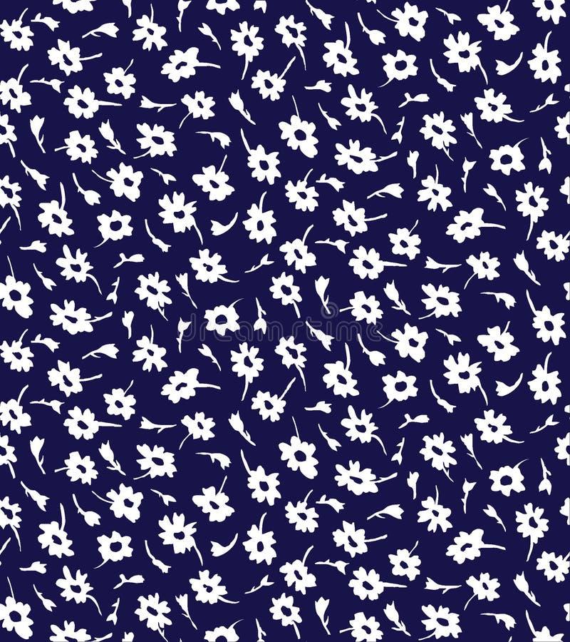 Άνευ ραφής και τυχαίο άσπρο μικροσκοπικό σχέδιο λουλουδιών απεικόνιση αποθεμάτων