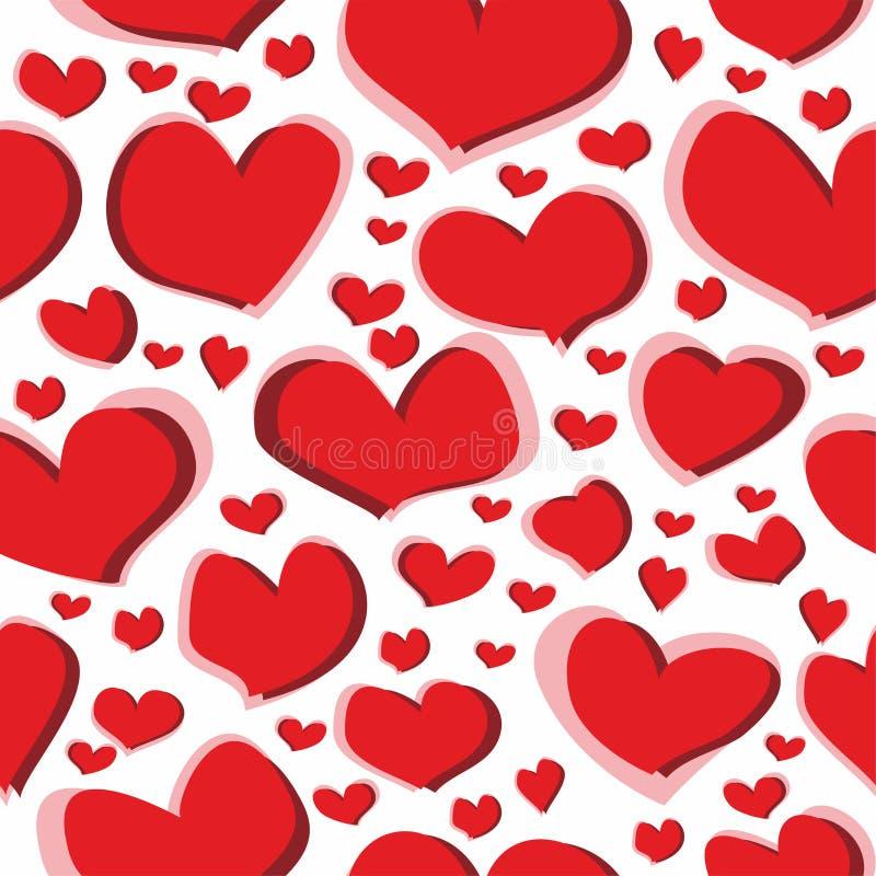 Άνευ ραφής κακογραφία σχεδίων των κόκκινων αριθμών καρδιών για ένα άσπρο υπόβαθρο για τα υφάσματα, τις ταπετσαρίες, τα τραπεζομάν ελεύθερη απεικόνιση δικαιώματος