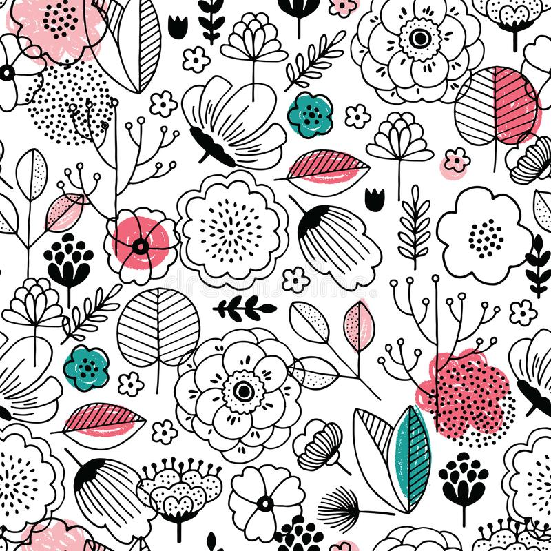 άνευ ραφής καλοκαίρι προ&t Γραμμικό παιδί γραφικό Floral υπόβαθρο Σκανδιναβικό ύφος επίσης corel σύρετε το διάνυσμα απεικόνισης απεικόνιση αποθεμάτων