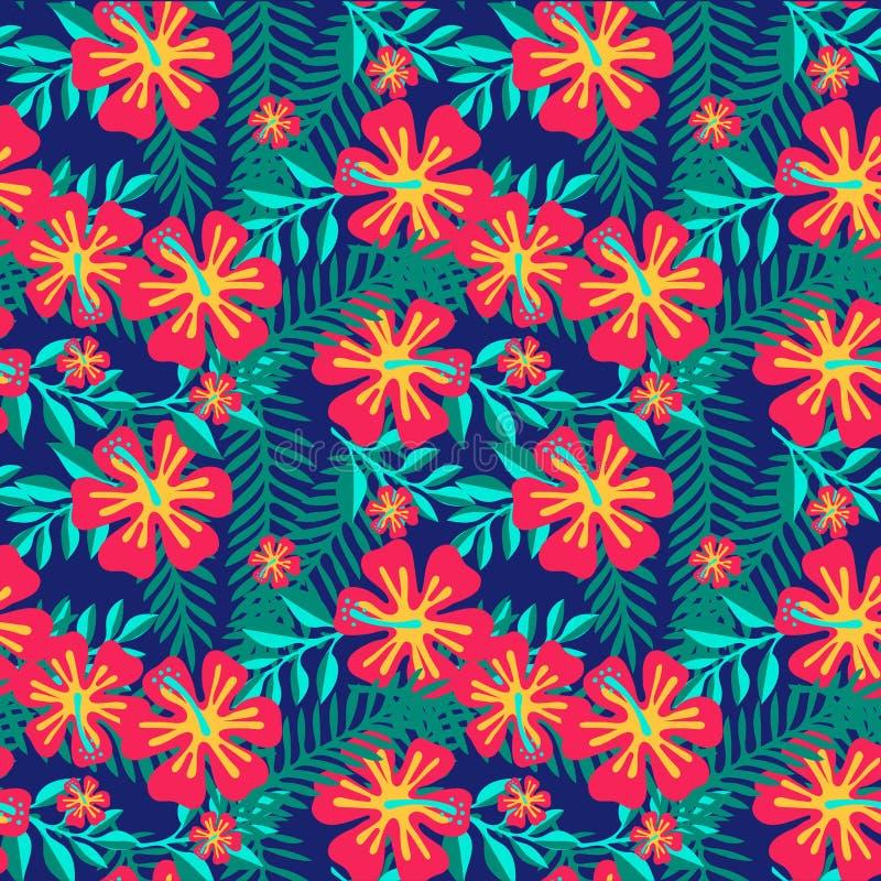 άνευ ραφής καλοκαίρι προ&ta Τροπικό άνευ ραφής σχέδιο φύλλων και λουλουδιών φοινικών επίσης corel σύρετε το διάνυσμα απεικόνισης διανυσματική απεικόνιση