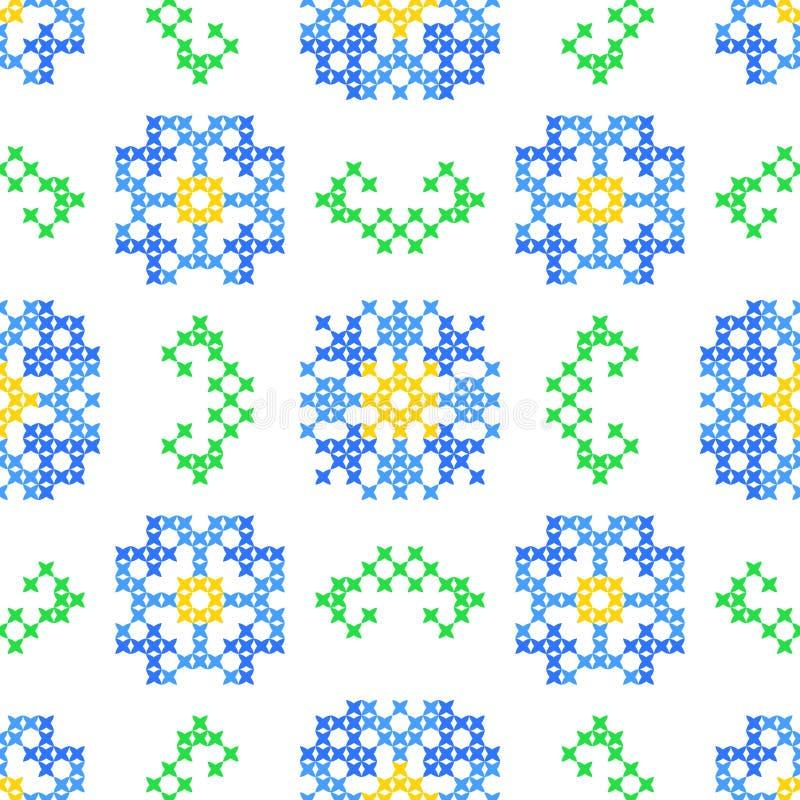 Άνευ ραφής κεντημένη σύσταση των αφηρημένων λουλουδιών και των φύλλων στοκ εικόνα