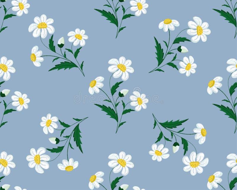 Άνευ ραφής κεντημένο βελονιά σχέδιο με τα λουλούδια μαργαριτών σε ένα μπλε υπόβαθρο r ελεύθερη απεικόνιση δικαιώματος