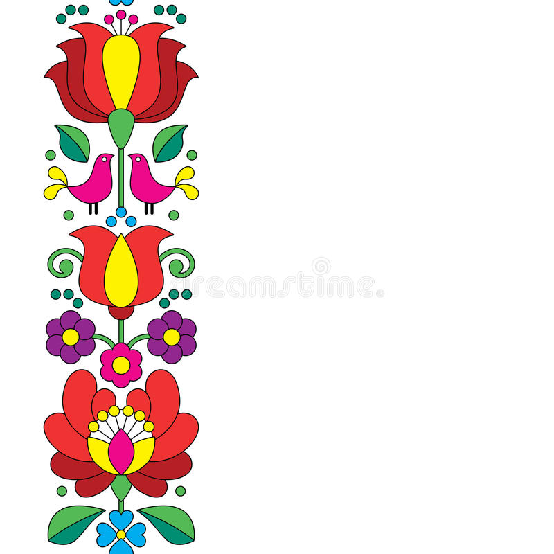 Άνευ ραφής κεντητική Kalocsai - ουγγρικό floral λαϊκό σχέδιο τέχνης ελεύθερη απεικόνιση δικαιώματος