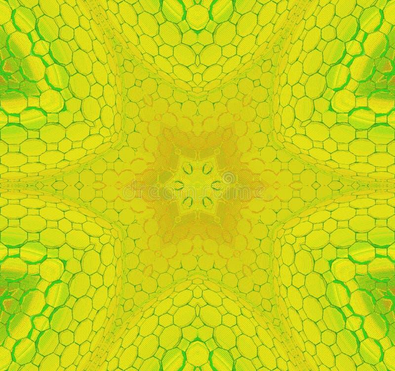 Άνευ ραφής κεντροθετημένη διακόσμηση αστεριών κιτρινοπράσινη ελεύθερη απεικόνιση δικαιώματος