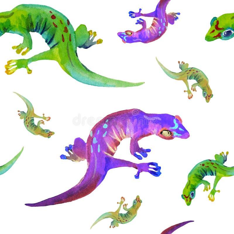 Άνευ ραφής κεραμίδι Watercolor του τροπικού χρώματος νέου σαυρών ελεύθερη απεικόνιση δικαιώματος