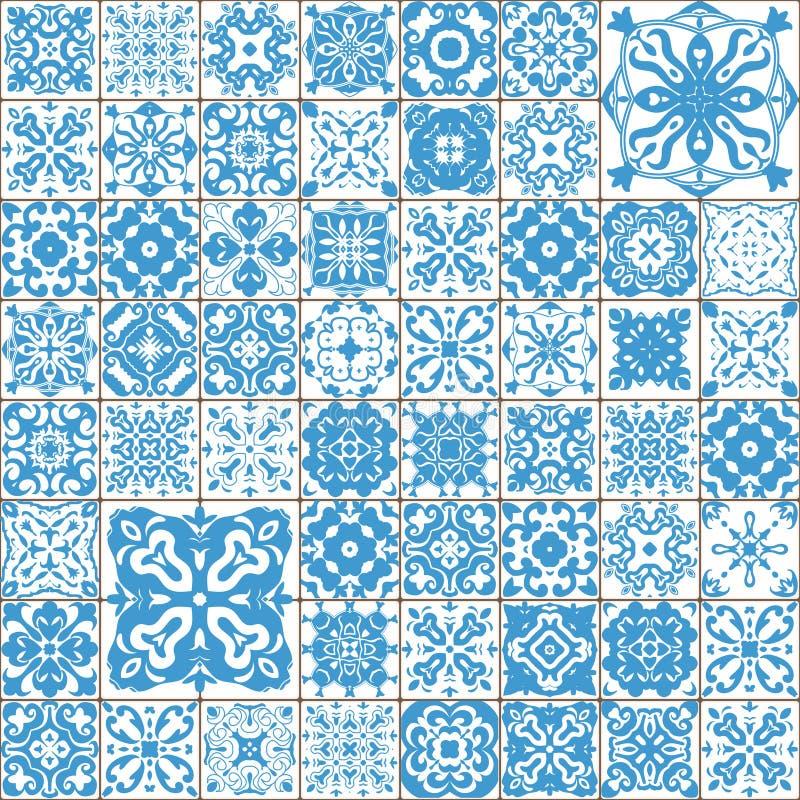 άνευ ραφής κεραμίδι προτύπ&ome Ζωηρόχρωμη Λισσαβώνα, μεσογειακό floral σχέδιο διακοσμήσεων Τετραγωνικό μπλε μωσαϊκό λουλουδιών Ισ ελεύθερη απεικόνιση δικαιώματος