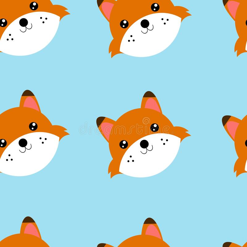 Άνευ ραφής κεφάλια σχεδίων της αλεπούς Απεικόνιση του άνευ ραφής σχεδίου με το ζώο απεικόνιση αποθεμάτων