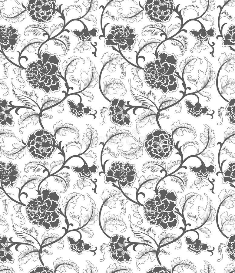 Άνευ ραφής κινεζική διακόσμηση με τα λουλούδια ελεύθερη απεικόνιση δικαιώματος