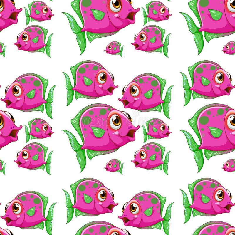 Άνευ ραφής κινούμενα σχέδια κεραμιδιών σχεδίων με τα ρόδινα πορφυρά ψάρια ελεύθερη απεικόνιση δικαιώματος