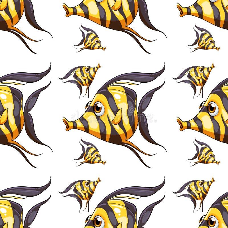 Άνευ ραφής κινούμενα σχέδια κεραμιδιών σχεδίων με τα ψάρια απεικόνιση αποθεμάτων