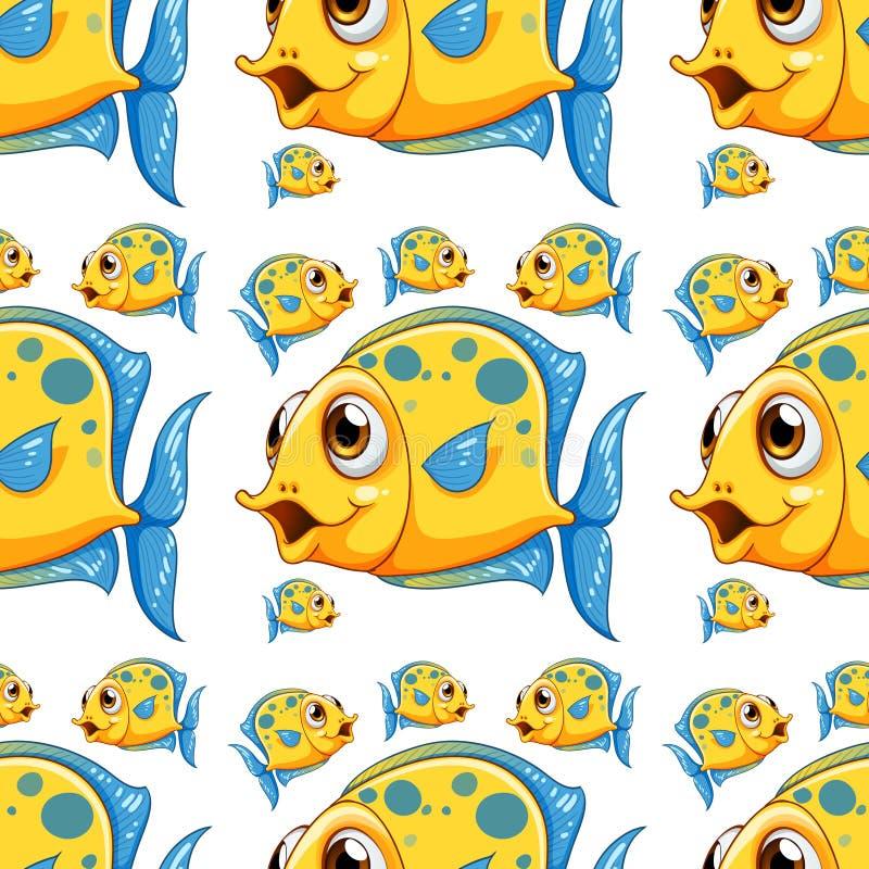 Άνευ ραφής κινούμενα σχέδια κεραμιδιών σχεδίων με τα ψάρια διανυσματική απεικόνιση