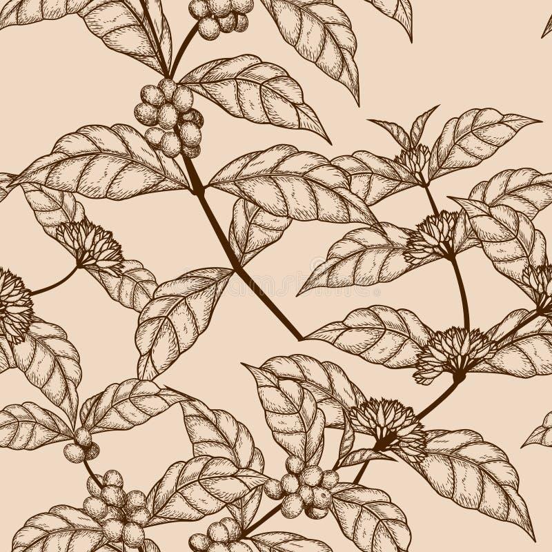 Άνευ ραφής κλάδος δέντρων καφέ σκίτσων σχεδίων με τα μούρα διανυσματική απεικόνιση