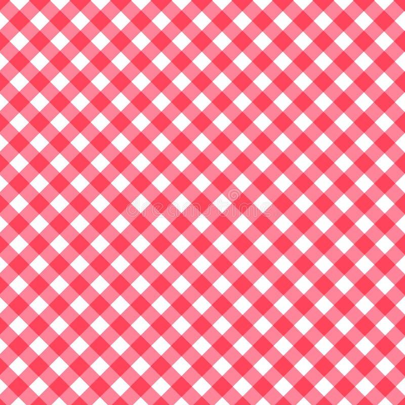 Άνευ ραφής κλασικό υπόβαθρο σχεδίων, κόκκινο τραπεζομάντιλα τετραγώνων λωρίδων κρητιδογραφιών διαγώνιο επικαλύπτοντας κόκκινο και διανυσματική απεικόνιση