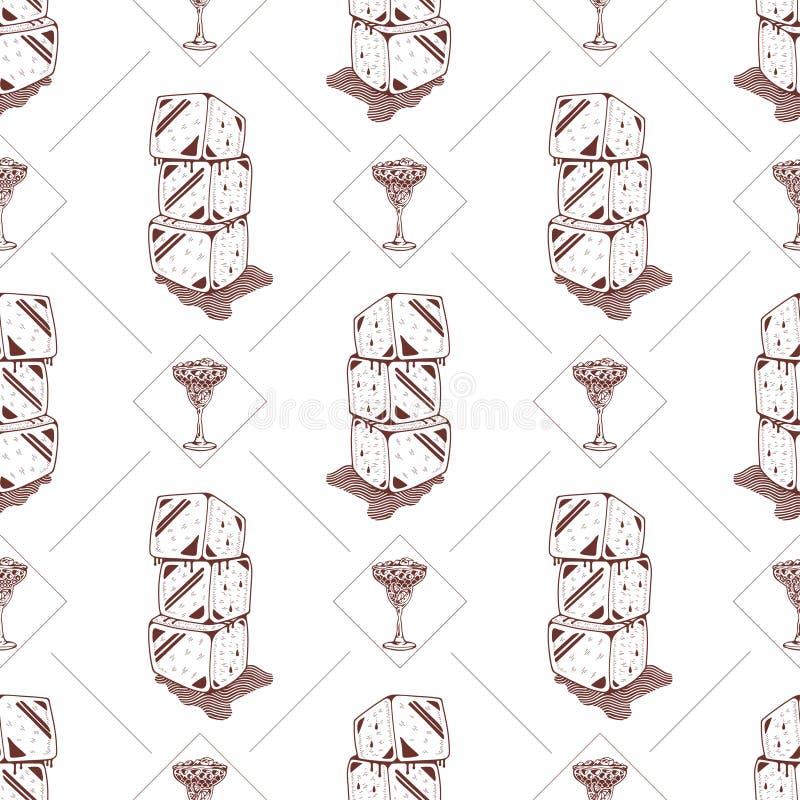 Άνευ ραφής κοκτέιλ σχεδίων και κύβοι πάγου διανυσματική απεικόνιση