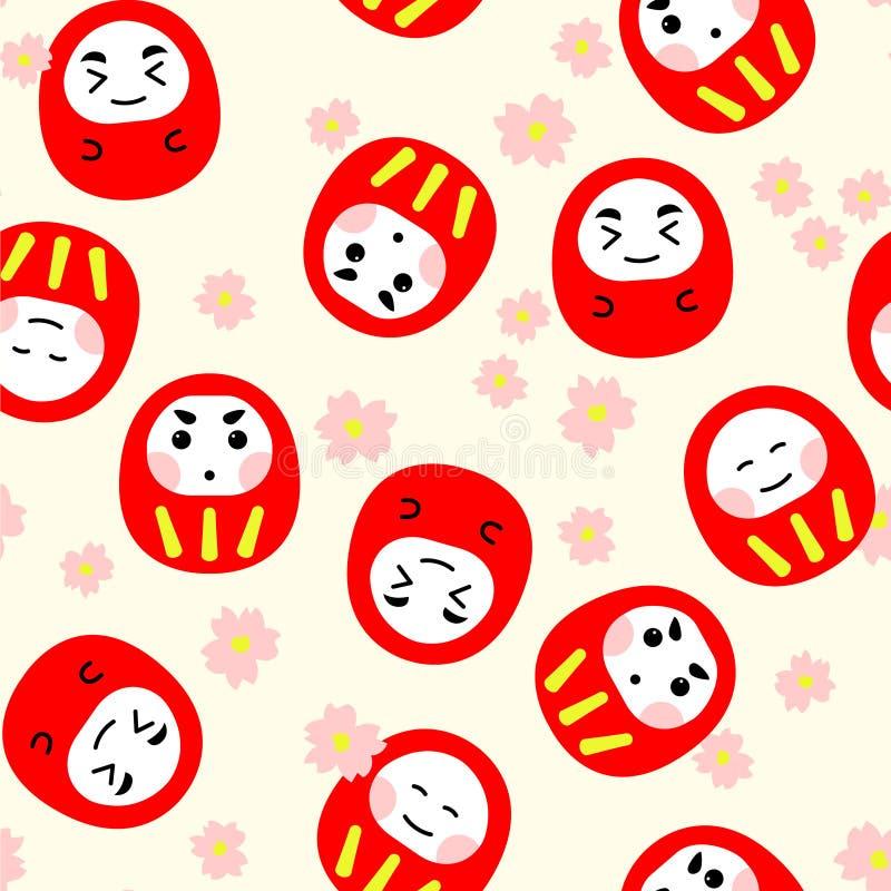 Άνευ ραφής κούκλα daruma σχεδίων κόκκινη χαριτωμένη με το ρόδινο sakura διανυσματική απεικόνιση