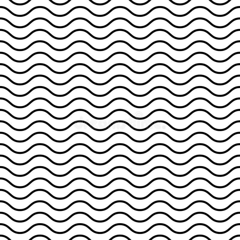 άνευ ραφής κυματιστός προτύπων Μαύρες λεπτές γραμμές στο άσπρο υπόβαθρο Ναυτικό, ναυτικό και θέμα νερού επίσης corel σύρετε το δι διανυσματική απεικόνιση