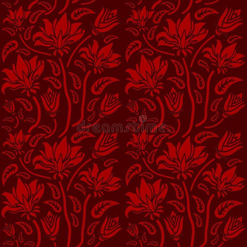 Άνευ ραφής κόκκινο floral σχέδιο, διάνυσμα Η ατελείωτη σύσταση μπορεί να χρησιμοποιηθεί για την ταπετσαρία, το σχέδιο γεμίζει, υπ απεικόνιση αποθεμάτων