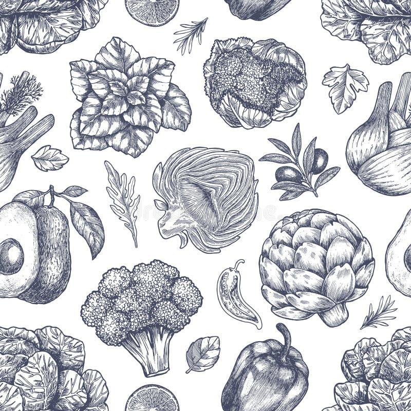 άνευ ραφής λαχανικά προτύπ&omeg Εκλεκτής ποιότητας λαχανικά Handsketched τέχνη εξαρτημάτων μοντέρνη η γυναίκα γραμμών απεικόνισής απεικόνιση αποθεμάτων