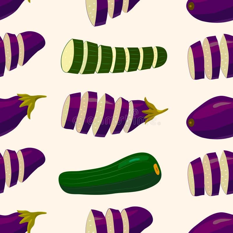 άνευ ραφής λαχανικό προτύπ&omeg Μελιτζάνα και κολοκύθια εγκατάσταση-βασισμένη στα ζωηρόχρωμη διανυσματική διακόσμηση τροφίμων διανυσματική απεικόνιση