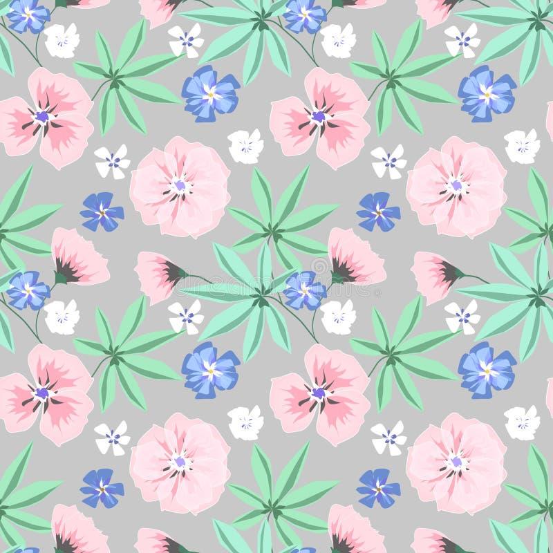Άνευ ραφής λεπτό floral σχέδιο Ρόδινα, μπλε λουλούδια στο ανοικτό γκρι υπόβαθρο ελεύθερη απεικόνιση δικαιώματος