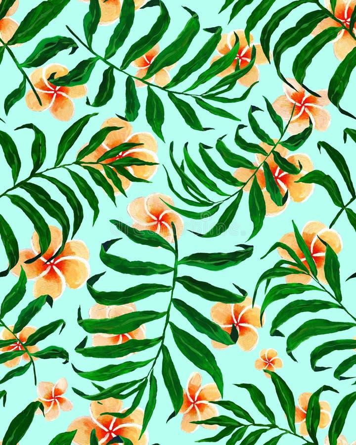 Άνευ ραφής λουλούδια σχεδίων και plumeria φύλλων φοινικών ελεύθερη απεικόνιση δικαιώματος