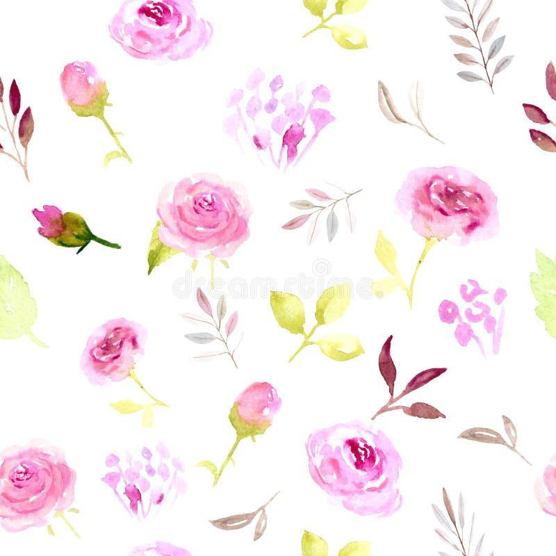 Άνευ ραφής λουλούδια watercolor σχεδίων ρόδινα ελεύθερη απεικόνιση δικαιώματος