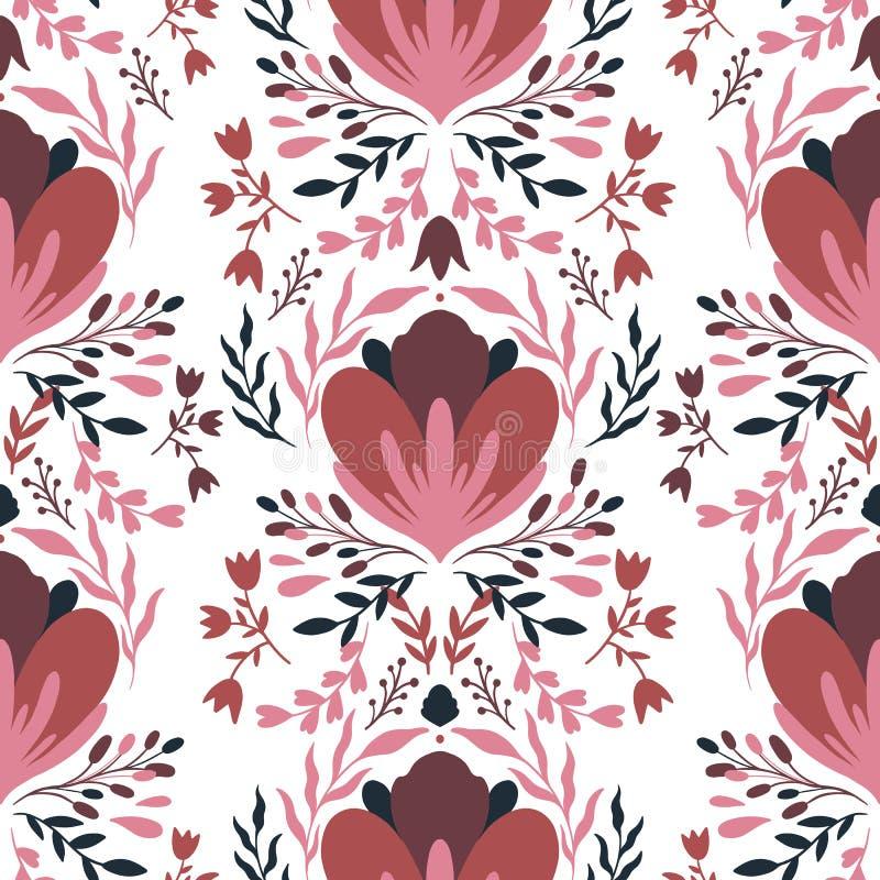 Άνευ ραφής λουλούδι σχεδίων Λαϊκή διακόσμηση φύσης Ύφος boho Ethno Σχέδιο χεριών απεικόνιση αποθεμάτων