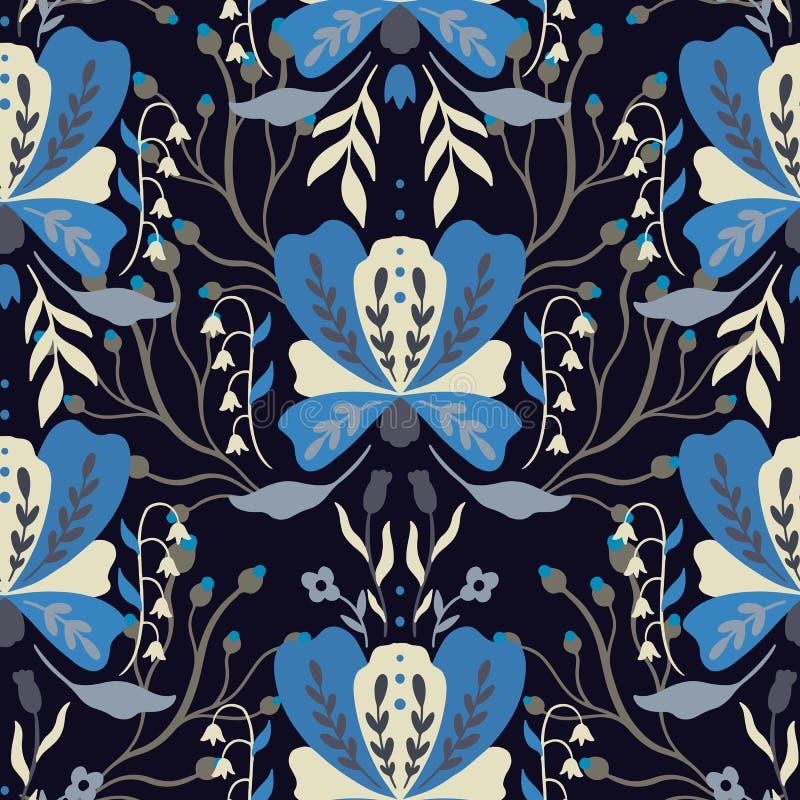 Άνευ ραφής λουλούδι σχεδίων Λαϊκή διακόσμηση φύσης Ύφος boho Ethno Σχέδιο χεριών ελεύθερη απεικόνιση δικαιώματος