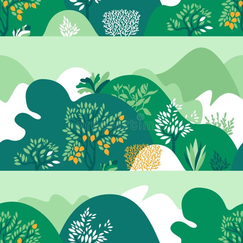 Άνευ ραφής λοφώδες τοπίο σχεδίων με τα δέντρα, τους Μπους και τις εγκαταστάσεις Αυξανόμενες εγκαταστάσεις και κηπουρική ελεύθερη απεικόνιση δικαιώματος