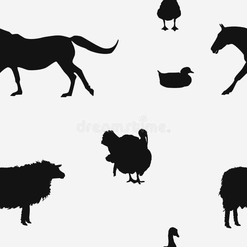 Άνευ ραφής μαύρη σκιαγραφία σχεδίων ζώων αγροκτημάτων σε άσπρο, διάνυσμα απεικόνιση αποθεμάτων