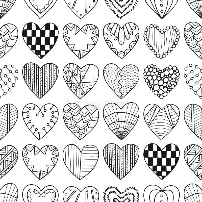 Άνευ ραφής μαύρο, άσπρο σχέδιο με τις διακοσμητικές καρδιές για το χρωματισμό του βιβλίου απεικόνιση αποθεμάτων