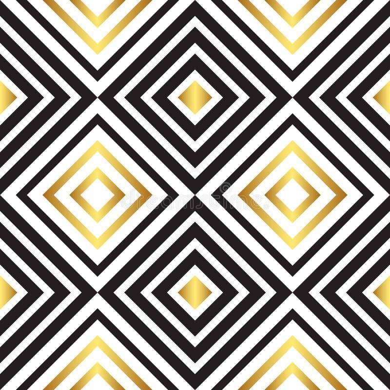 Άνευ ραφής μαύρο και χρυσό σχέδιο διάνυσμα διανυσματική απεικόνιση