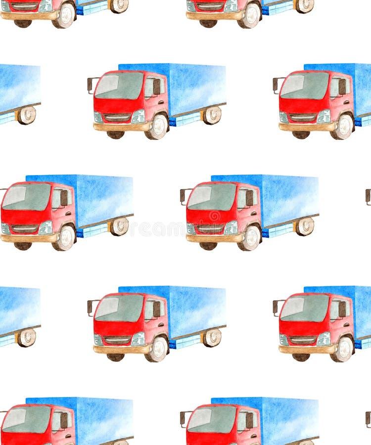 Άνευ ραφής μεταφορά σχεδίων και λογιστικός του μέσου φορτηγού watercolor με το μπλε σώμα και την κόκκινη καμπίνα διανυσματική απεικόνιση
