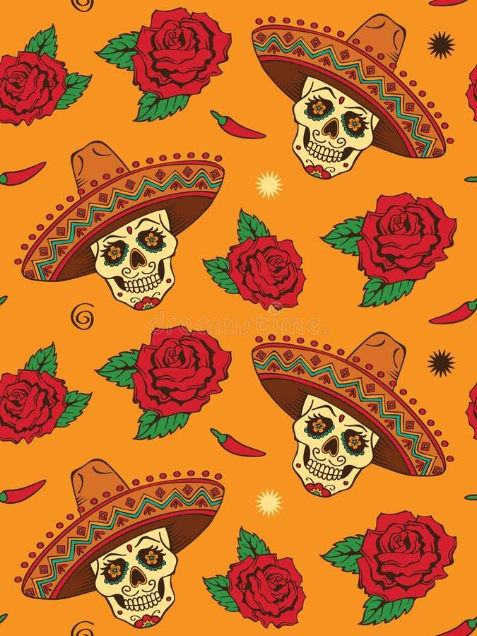 Άνευ ραφής με το μεξικάνικο κρανίο διανυσματική απεικόνιση