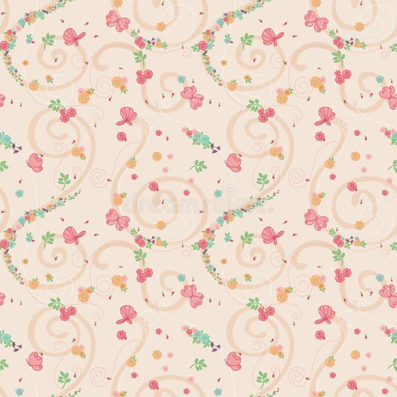 Άνευ ραφής μικρά ζωηρόχρωμα λουλούδια διανυσματική απεικόνιση